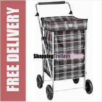 Lightweight 4 Wheel Shopping Trolley with Adjustable Handle Black Check