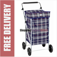 Lightweight 4 Wheel Shopping Trolley with Adjustable Handle Navy Check
