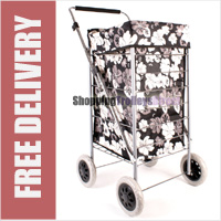 Colorado Premium 4 Wheel Shopping Trolley with Adjustable Handle Black with Grey and White Floral Print - LIMITED EDITION