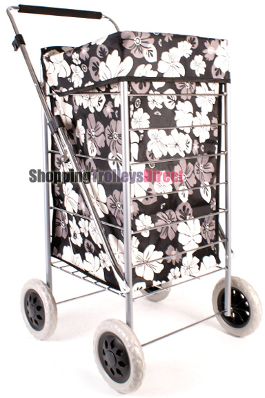Colorado Premium 4 Wheel Shopping Trolley with Adjustable Handle Black with Grey and White Floral Print