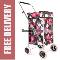 Colorado Premium 4 Wheel Shopping Trolley with Adjustable Handle Black with Pink and White Floral Print