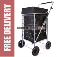 Colorado High Quality 4 Wheel Shopping Trolley with Adjustable Handle Plain Black