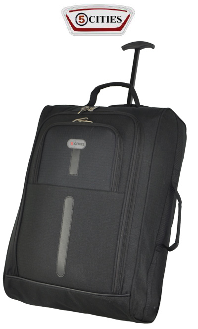 5 Cities Cabin Suitcase Trolley Bag 55cm - Black