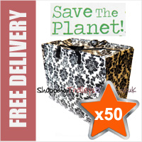 50 x Large Recycled Laundry Bags in Black/White Flora Print
