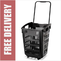 XL Shopping Basket On Wheels - Black