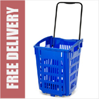 XL Shopping Basket On Wheels - Blue
