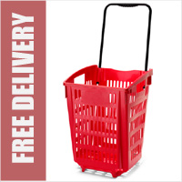 XL Shopping Basket On Wheels - Red