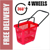 54 Litre Horizontal Shopping Basket with 360 Degree 4 Wheels - Red
