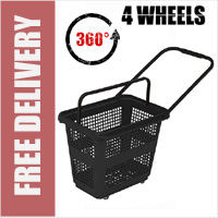 54 Litre Horizontal Shopping Basket with 360 Degree 4 Wheels - Black