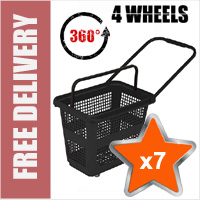 7 x 54 Litre Horizontal Shopping Basket with 360 Degree 4 Wheels - Black