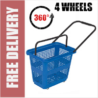 54 Litre Horizontal Shopping Basket with 360 Degree 4 Wheels - Blue