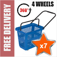 7 x 54 Litre Horizontal Shopping Basket with 360 Degree 4 Wheels - Blue