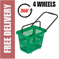 54 Litre Horizontal Shopping Basket with 360 Degree 4 Wheels - Green