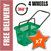 7 x 54 Litre Horizontal Shopping Basket with 360 Degree 4 Wheels - Green