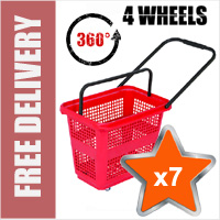 7 x 54 Litre Horizontal Shopping Basket with 360 Degree 4 Wheels - Red