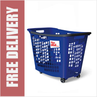 55 Litre Horizontal Shopping Basket with 4 Wheels - Blue