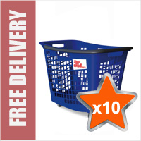 10 x 55 Litre Horizontal Shopping Basket with 4 Wheels - Blue