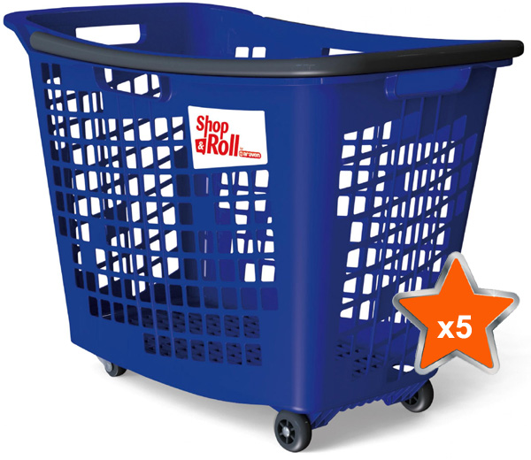 5 x 55 Litre Horizontal Shopping Basket with 4 Wheels - Blue