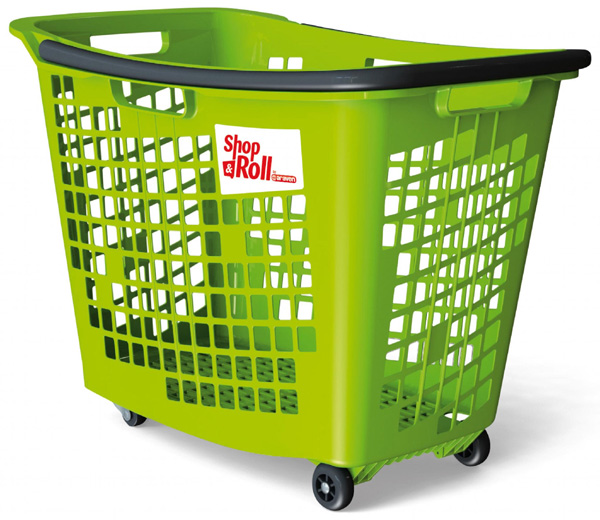 55 Litre Horizontal Shopping Basket with 4 Wheels - Green
