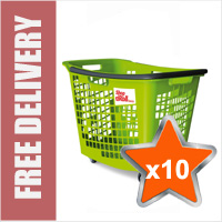 10 x 55 Litre Horizontal Shopping Basket with 4 Wheels - Green