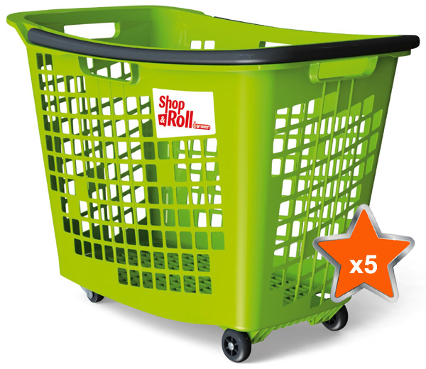 5 x 55 Litre Horizontal Shopping Basket with 4 Wheels - Green