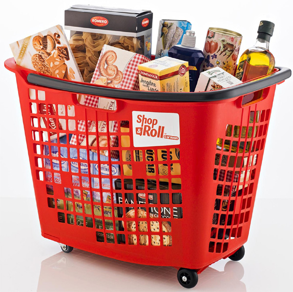 55 Litre Horizontal Shopping Basket with 4 Wheels - Red