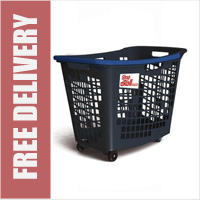 55 Litre Horizontal Shopping Basket with 4 Wheels - Anthracite with Blue Handle