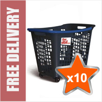 10 x 55 Litre Horizontal Shopping Basket with 4 Wheels - Anthracite with Blue Handle