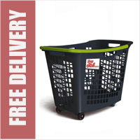 55 Litre Horizontal Shopping Basket with 4 Wheels - Anthracite with Green Handle