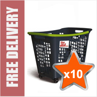 10 x 55 Litre Horizontal Shopping Basket with 4 Wheels - Anthracite with Green Handle