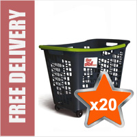 20 x 55 Litre Horizontal Shopping Basket with 4 Wheels - Anthracite with Green Handle