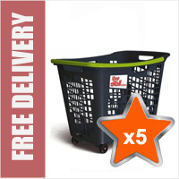5 x 55 Litre Horizontal Shopping Basket with 4 Wheels - Anthracite with Green Handle