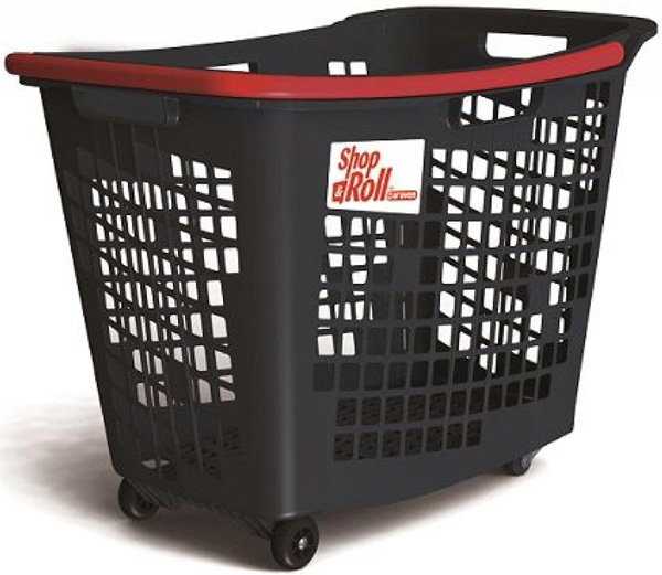 55 Litre Horizontal Shopping Basket with 4 Wheels - Anthracite with Red Handle