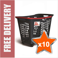 10 x 55 Litre Horizontal Shopping Basket with 4 Wheels - Anthracite with Red Handle