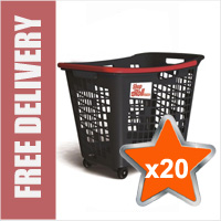 20 x 55 Litre Horizontal Shopping Basket with 4 Wheels - Anthracite with Red Handle