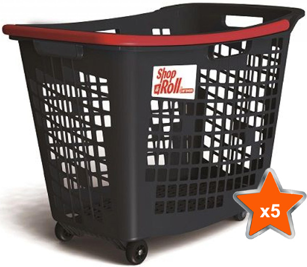 5 x 55 Litre Horizontal Shopping Basket with 4 Wheels - Anthracite with Red Handle