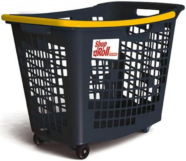 55 Litre Horizontal Shopping Basket with 4 Wheels - Anthracite with Yellow Handle