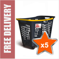 5 x 55 Litre Horizontal Shopping Basket with 4 Wheels - Anthracite with Yellow Handle