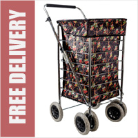 Alaska Premium 6 Wheel Swivel Shopping Trolley with Adjustable Handle Black Owl Print