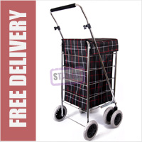 Alaska Premium 6 Wheel Swivel Shopping Trolley with Adjustable Handle Black Check