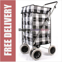 Alaska High Quality 6 Wheel Swivel Shopping Trolley with Adjustable Handle Black/White Squares