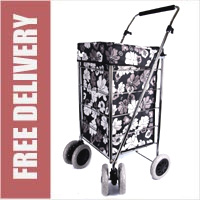 Alaska Premium 6 Wheel Swivel Shopping Trolley with Adjustable Handle Black with Grey and White Floral Print