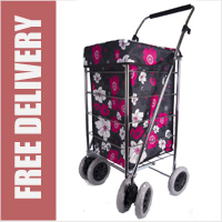 Alaska Premium 6 Wheel Swivel Shopping Trolley with Adjustable Handle Black with Pink and White Floral Print - LIMITED EDITION