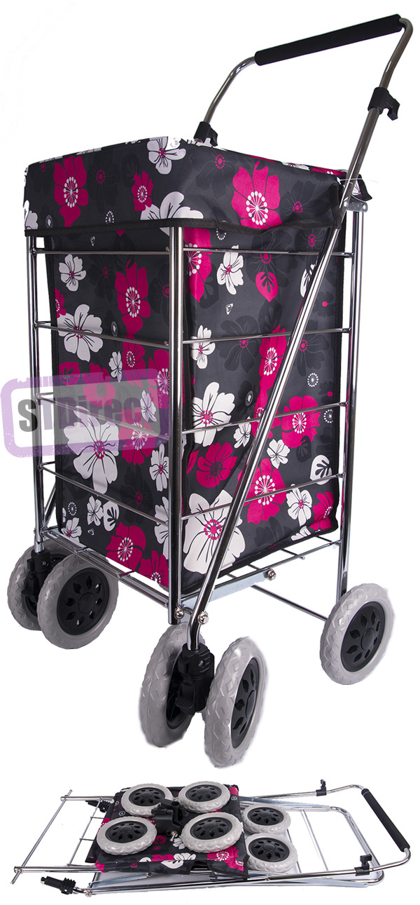 Alaska Premium 6 Wheel Swivel Shopping Trolley with Adjustable Handle Black with Pink and White Floral Print
