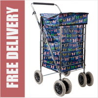 Alaska Premium 6 Wheel Swivel Shopping Trolley with Adjustable Handle Navy Butterfly Print