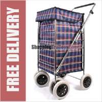Alaska High Quality 6 Wheel Swivel Shopping Trolley with Adjustable Handle Navy/Red Check