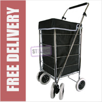 Alaska High Quality 6 Wheel Swivel Shopping Trolley with Adjustable Handle Plain Black with Grey Trim