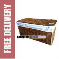 Wicker Storage Trunk Chest with Linen Liner and Lid (Dark Brown)