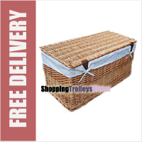 Wicker Storage Trunk Chest with Linen Liner and Lid (Light Brown)