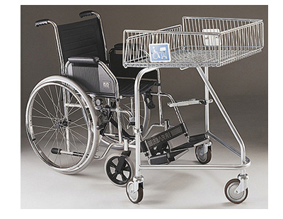 62 Litre Disabled Wire/Metal Supermarket Shopping Trolley to Connect with Wheelchair